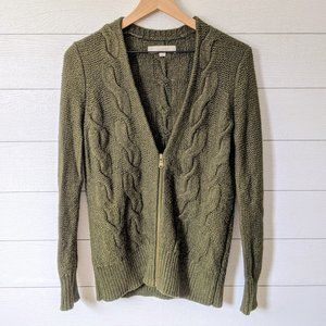 LOFT Olive Green Zip Front Chunky Knit Cardigan M